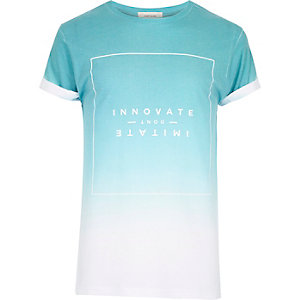 White innovated faded print t-shirt