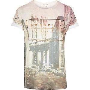 Pink Brooklyn photo print t-shirt