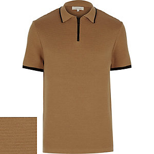 Camel zip neck ribbed polo shirt