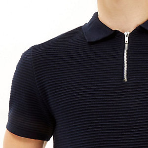 Navy zip neck ribbed polo shirt