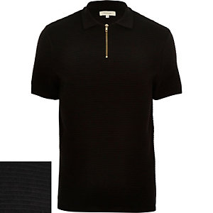Black zip neck ribbed polo shirt