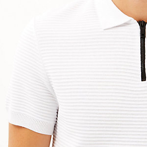 White zip neck ribbed polo neck
