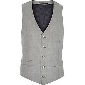 Grey wool-blend slim suit waistcoat