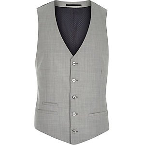 Grey wool-blend slim suit vest