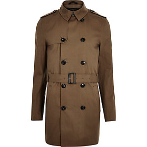 Brown smart double breasted mac coat