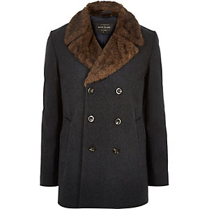 Dark grey double-breasted winter peacoat