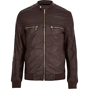 Dark red leather-look bomber jacket