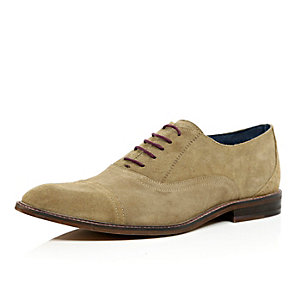 Light brown suede smart lace up shoes