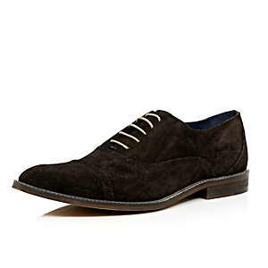 Dark brown suede smart lace up shoes