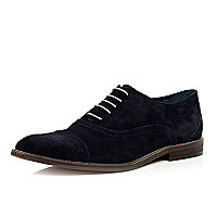 Navy blue suede smart shoes