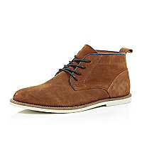 Brown suede lace up chukka boots