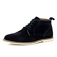Navy blue suede lace up chukka boots