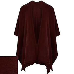 Dark red knitted cape