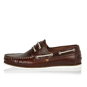 Brown leather boat shoes