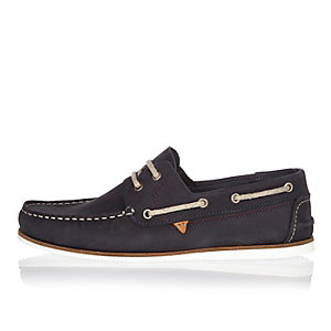 Navy blue nubuck boat shoes