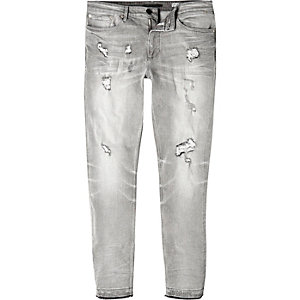 Grey rip and repair Sid skinny stretch jeans