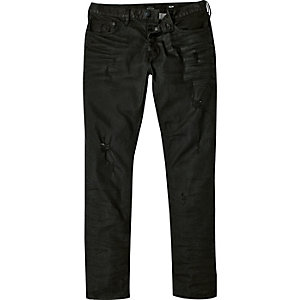 Black distressed Dylan slim jeans