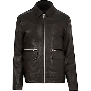 Black leather harrington jacket