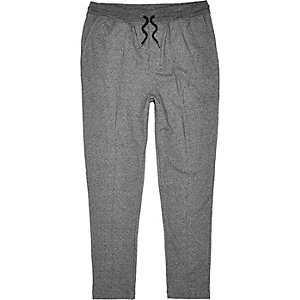 Dark grey smart pintuck jersey trouser