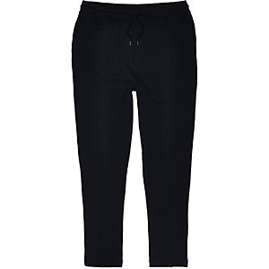 Navy smart pintuck jersey trouser