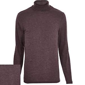 Dark red marl jersey roll neck