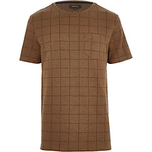 Brown check t-shirt