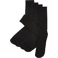 Black basket weave socks pack