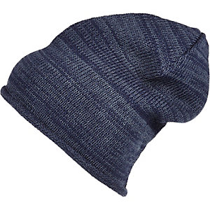 Blue slouchy roll edge beanie hat