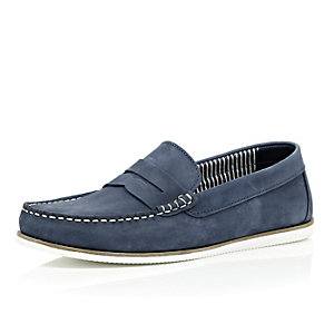 Navy nubuck leather loafers