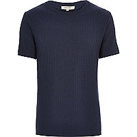 Blue ribbed short sleeve jumper