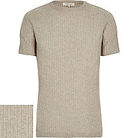Stone ribbed short sleeve jumper