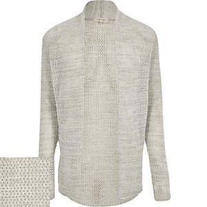 Light grey mesh open cardigan
