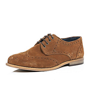 Brown suede perforated brogues
