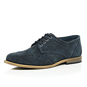 Navy suede perforated brogues