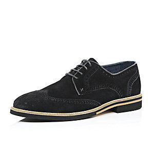 Black suede colour block heel brogues