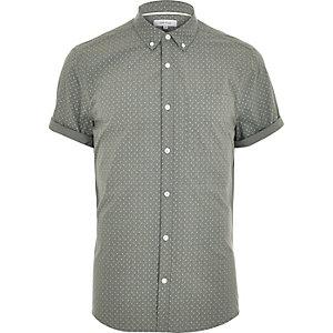 Khaki ditsy print short sleeve shirt