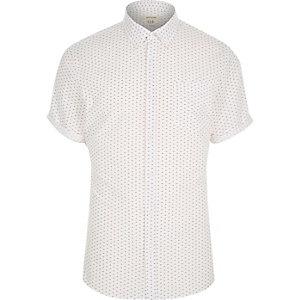 White micro print grandad shirt