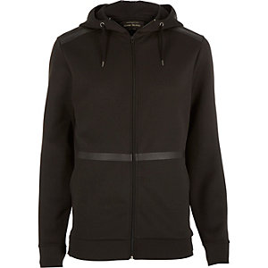 Black zip through high neck neoprene hoodie