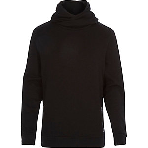Black cross neck hoodie