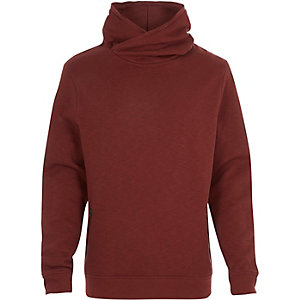Red cross neck hoodie