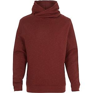 Red cross neck hoodie