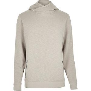 Ecru cross neck hoodie
