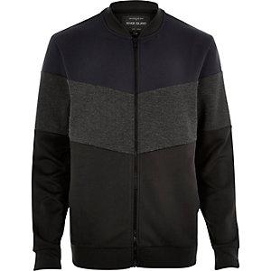 Black neoprene cut and sew bomber jacket