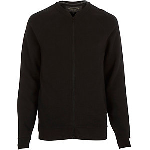 Black textured ribbed bomber jacket