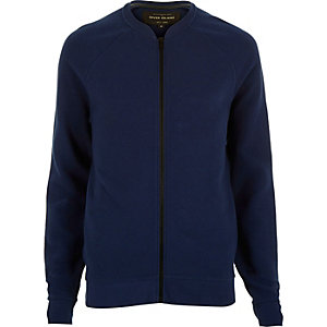 Blue textured ribbed bomber jacket