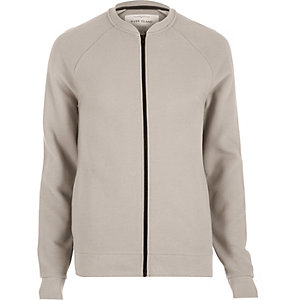 Grey textured ribbed bomber jacket