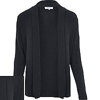 Dark grey open front cardigan