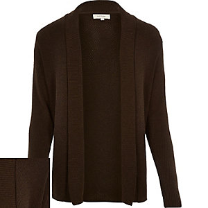 Dark brown open front cardigan