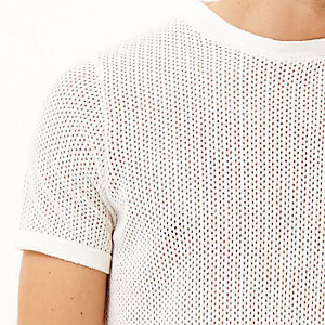 Ecru mesh short sleeve t-shirt