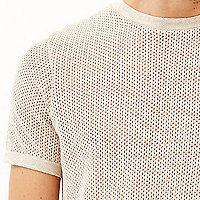 Light brown mesh short sleeve t-shirt